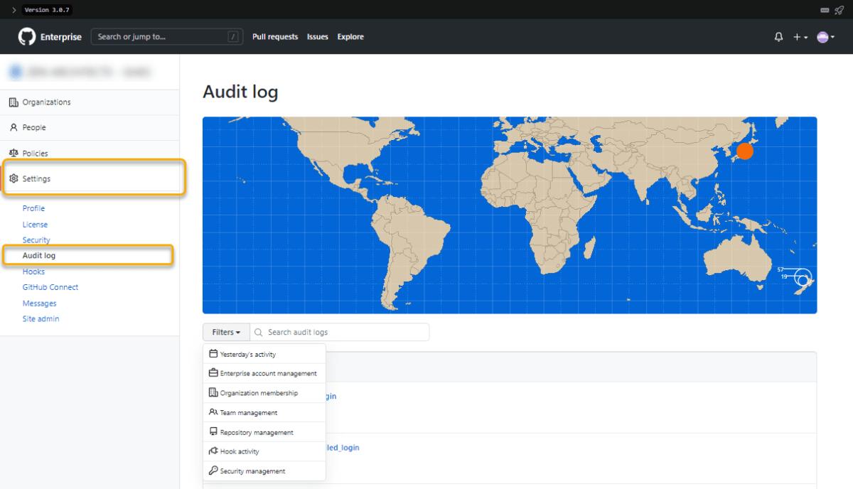 GitHub Enterprise Server (GHES): Enterprise レベルでの Audit log
