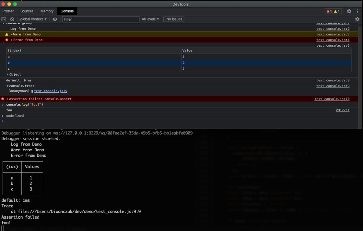 console message to devtools and terminal
