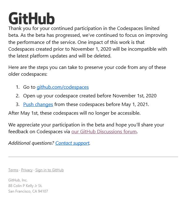GitHub からのお知らせ