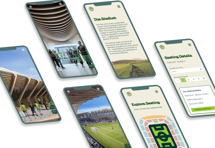 Screen Mockups for Forest Green Rovers FC