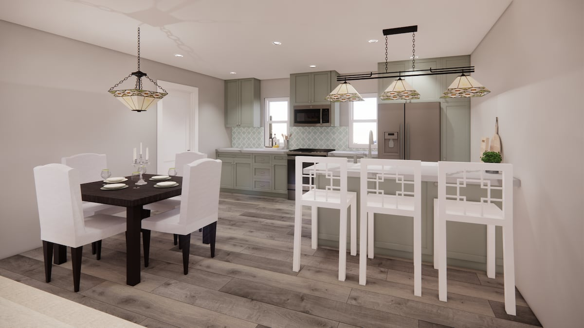 rendering of a kitchen and dining area in an accessory dwelling unit