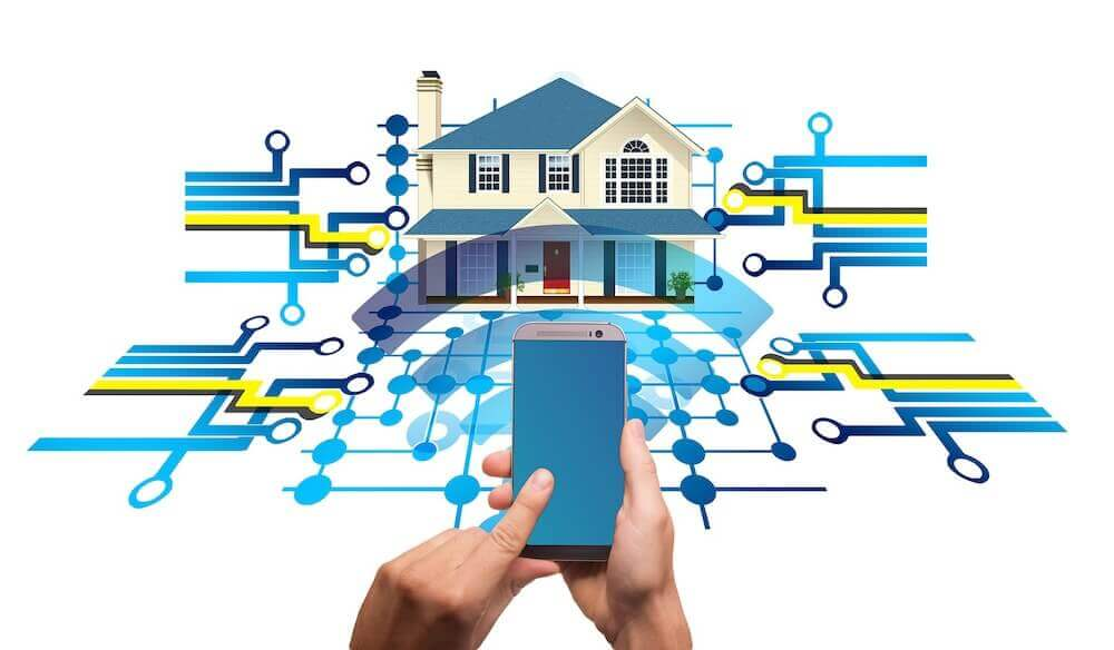 illustration of cellphone being used to control home automation processes