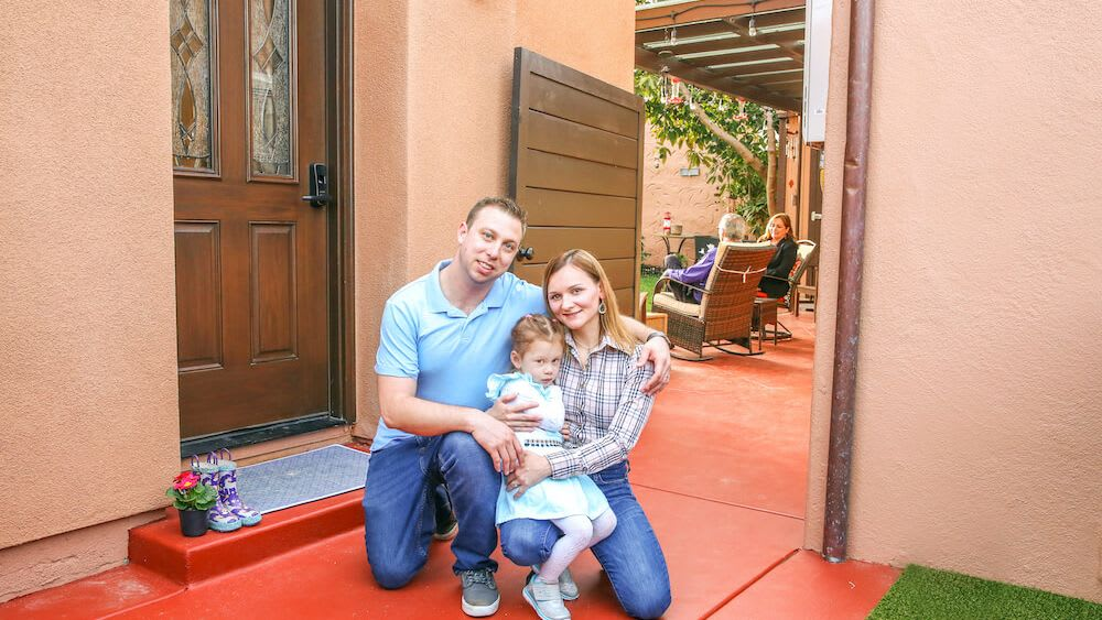 image of family outside of casita