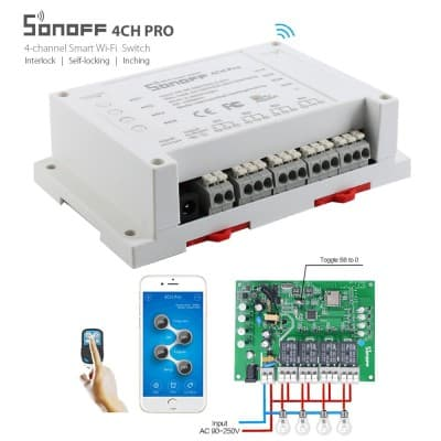 Sonoff 4CH Pro R2 10A 2200W 2.4Ghz 433MHz RF