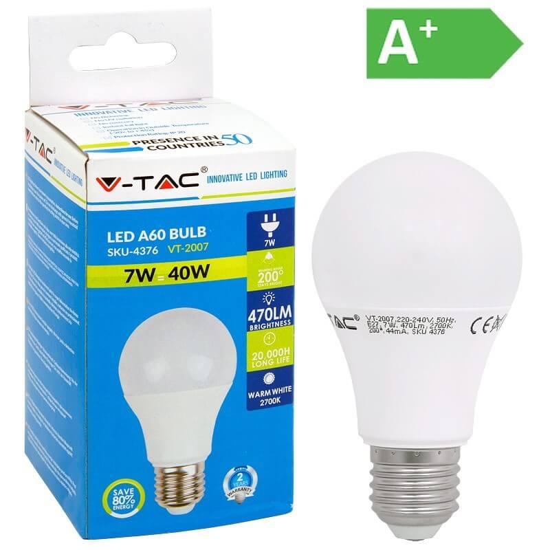Λάμπα LED Ε27 7 Watt Θερμό Λευκό V-TAC