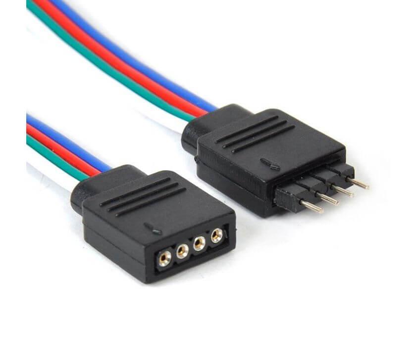 RGB Connector Διπλός σε PIN  με Καλώδιο για Ταινία LED RGB