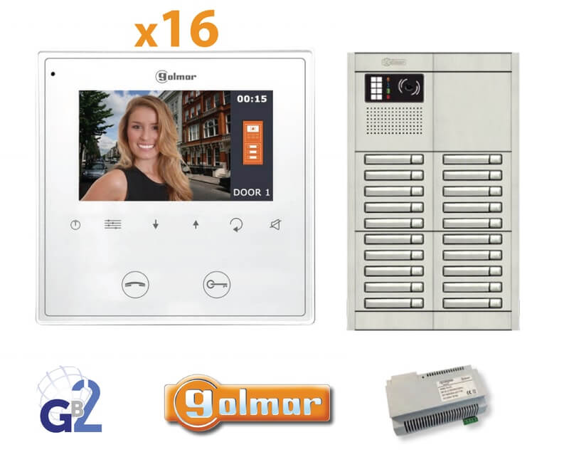 Kit Video Intercom Golmar 16 Appartments Vesta2 Nexa16 GB2