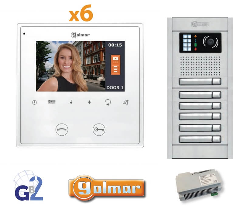 Kit Video Intercom Golmar 6 Appartments Vesta2 Nexa6 GB2