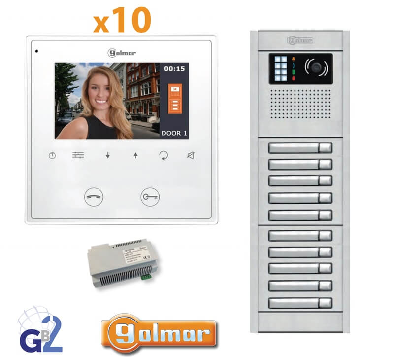 Kit Video Intercom Golmar 10 Appartments Vesta2 Nexa10 GB2