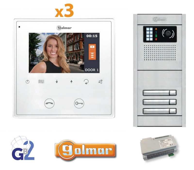 Kit Video Intercom Golmar 3 Appartments Vesta2 Nexa3 GB2