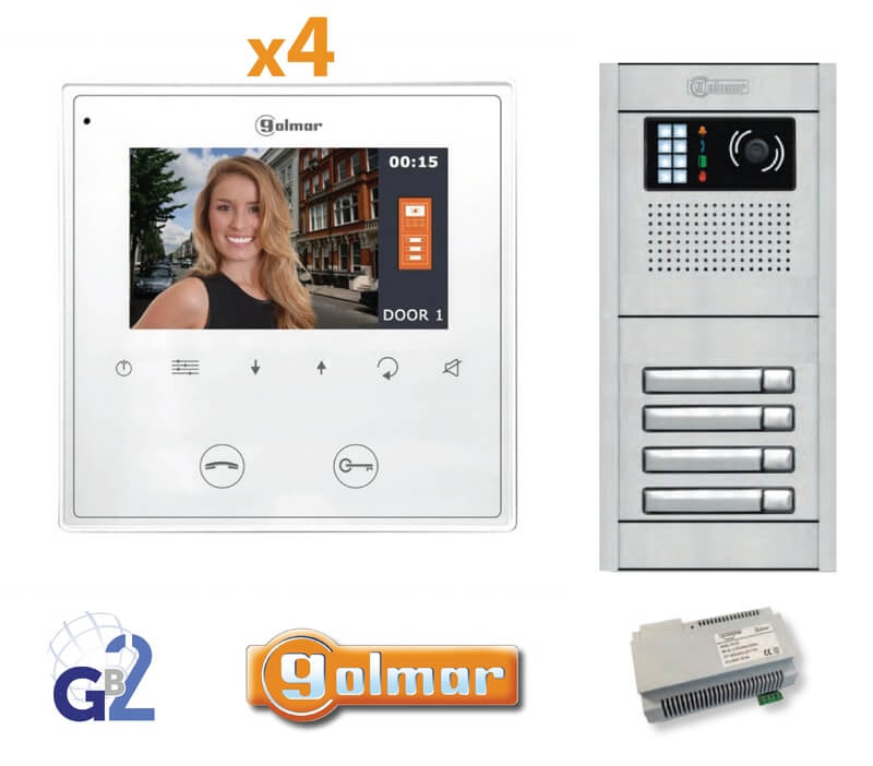 Kit Video Intercom Golmar 4 Appartments Vesta2 Nexa4 GB2