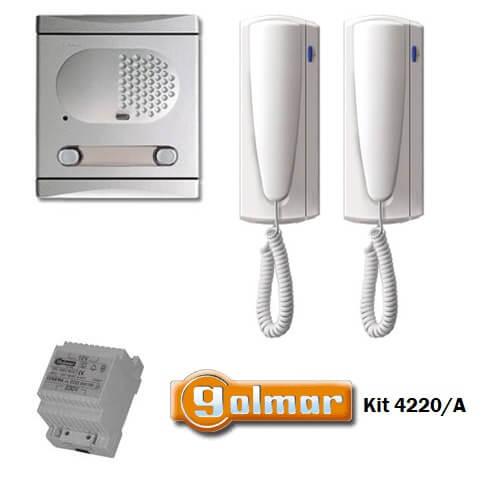 ΣΕΤ Θυροτηλέφωνο για 2 Διαμερίσματα με 4+n καλώδια GOLMAR με διπλό μπουτόν