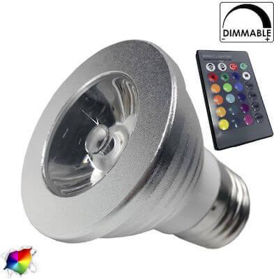 Σποτάκι LED E27 5 Watt RGB 220V με Ασύρματο Χειριστήριο