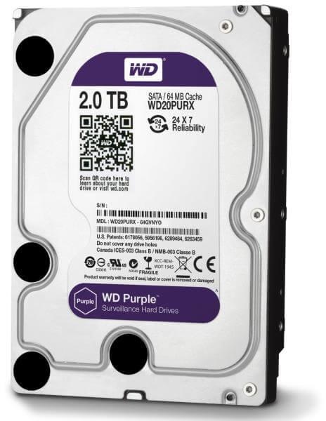 Σκληρός Δίσκος 2TB HDD Western Digital PURPLE SATA 3 για συστήματα Καμερών CCTV