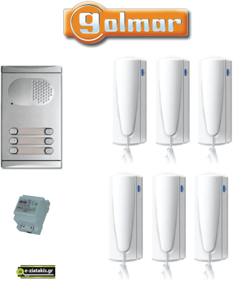 ΣΕΤ Θυροτηλέφωνο για 6 Διαμερίσματα με 4+n καλώδια GOLMAR με διπλό μπουτόν