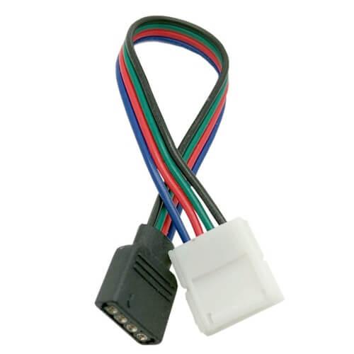 RGB Connector Διπλός  με Καλώδιο για Ταινία LED RGB