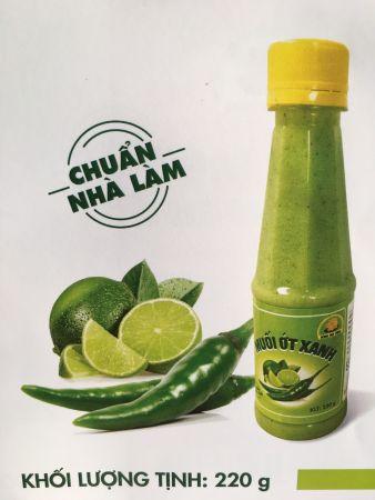 Muối ớt xanh dùng chấm cùng hải sản (chai 220gr)