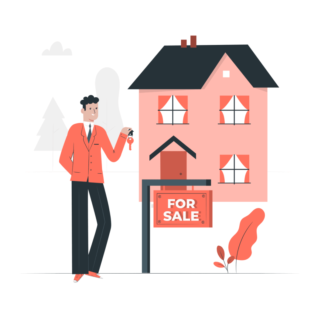 agent immobilier devant une maison