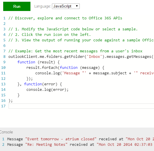 Office 365 API Sandbox - Learn how to use the API's with