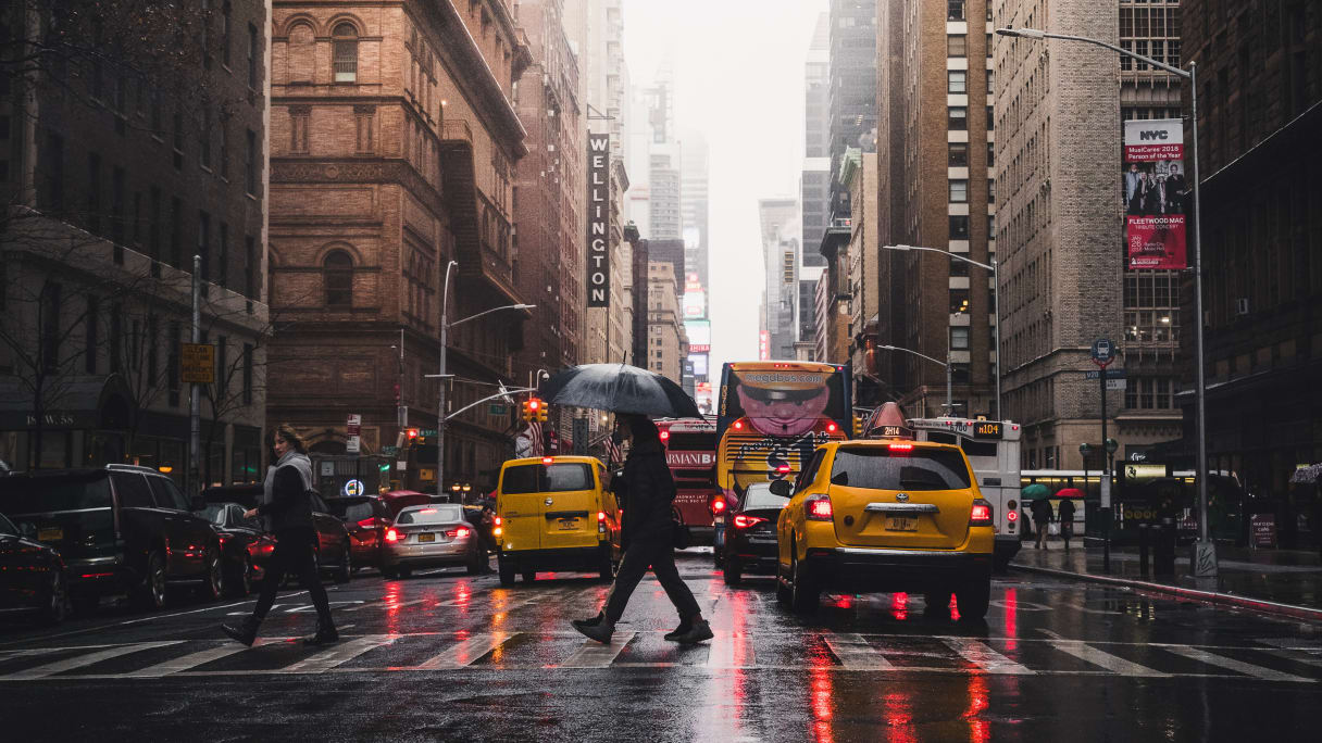 Caught in the rain in Manhattan, New York