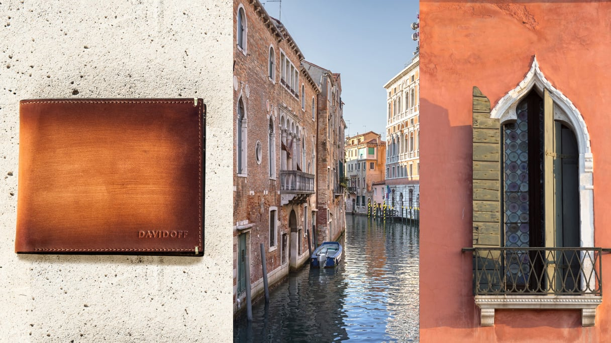 Canals, stucco Veneziano and Venice wallet.
