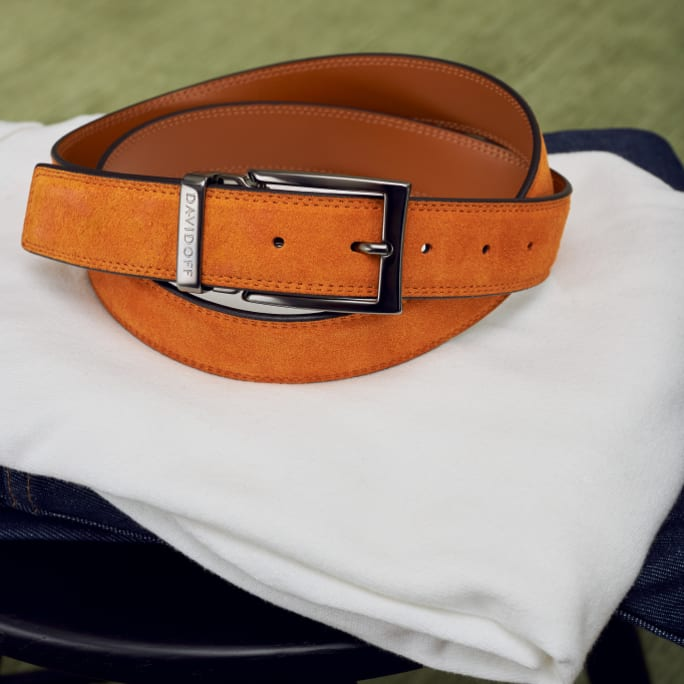 DAVIDOFF ESSENTIALS belt - Orange suede