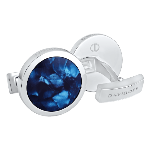 VENICE Cufflinks Round - Rhodium / Blue