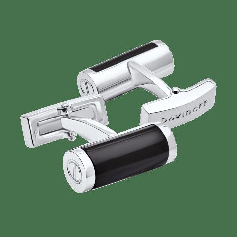 ESSENTIALS Cufflinks Barrel - Rhodium / Black