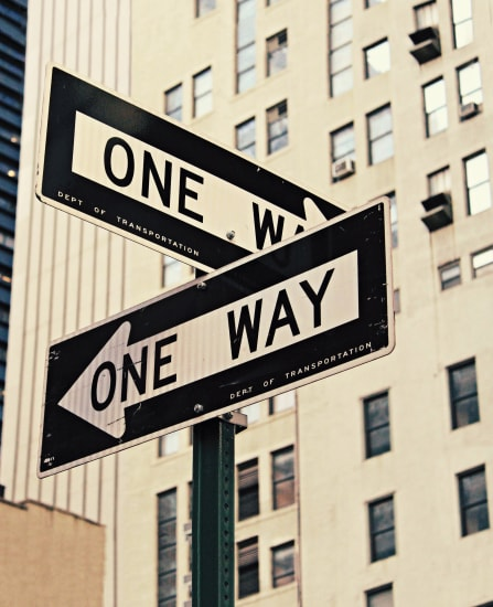 One way signs at a crossroads