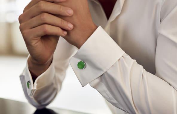 The playful green PARIS cufflinks