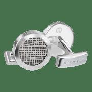 CROSSROADS cufflinks  - Round - Rhodium / Black