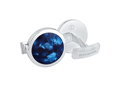 VENICE Cufflinks Round - Rhodium / Blue
