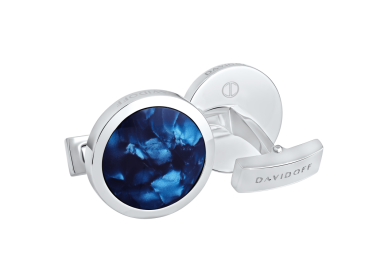 VENICE Cufflinks  - Round - Rhodium / Blue