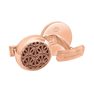 ZINO Cufflinks Round - Rose Gold / Red