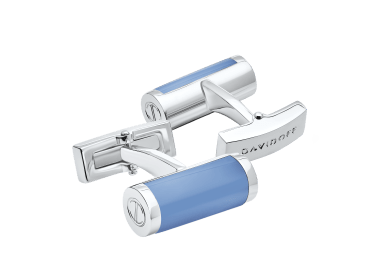 ESSENTIALS Cufflinks Barrel - Rhodium / Blue