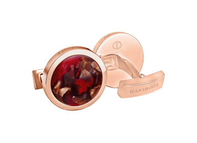 VENICE Cufflinks Round - Rose Gold / Brown