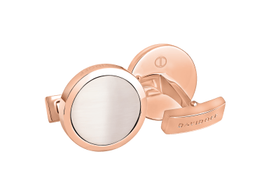 ESSENTIALS Cufflinks Round - Rose Gold / White