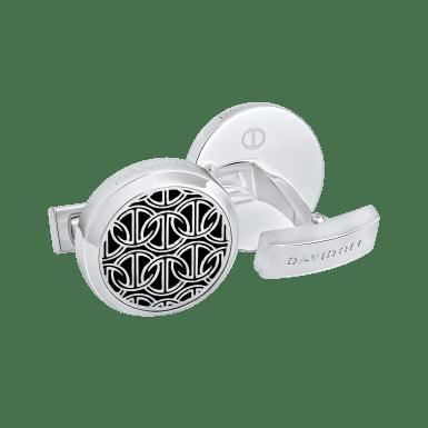 ZINO Cufflinks Round - Rhodium / Black