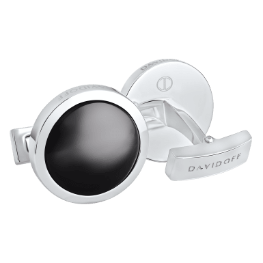 ESSENTIALS Cufflinks Round - Rhodium / Black