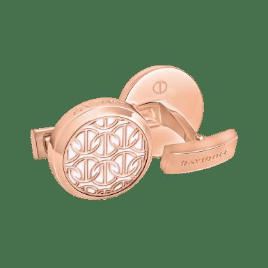 ZINO Cufflinks Round - Rose Gold / White