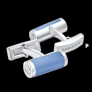 ESSENTIALS Cufflinks Barrel - Rhodium / Blue