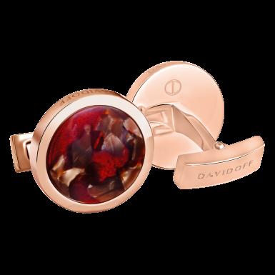 VENICE Cufflinks Round - Rose Gold / Brown