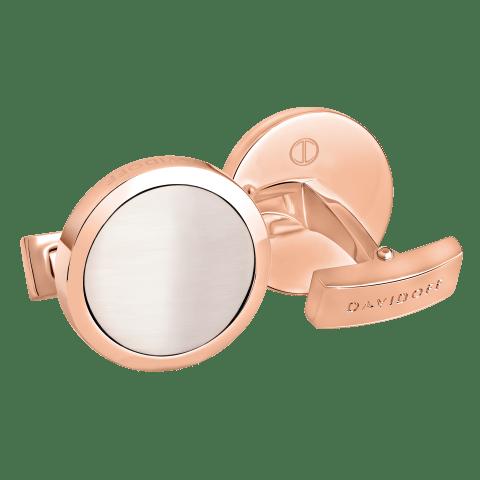 ESSENTIALS Cufflinks Round - Rose Gold / White