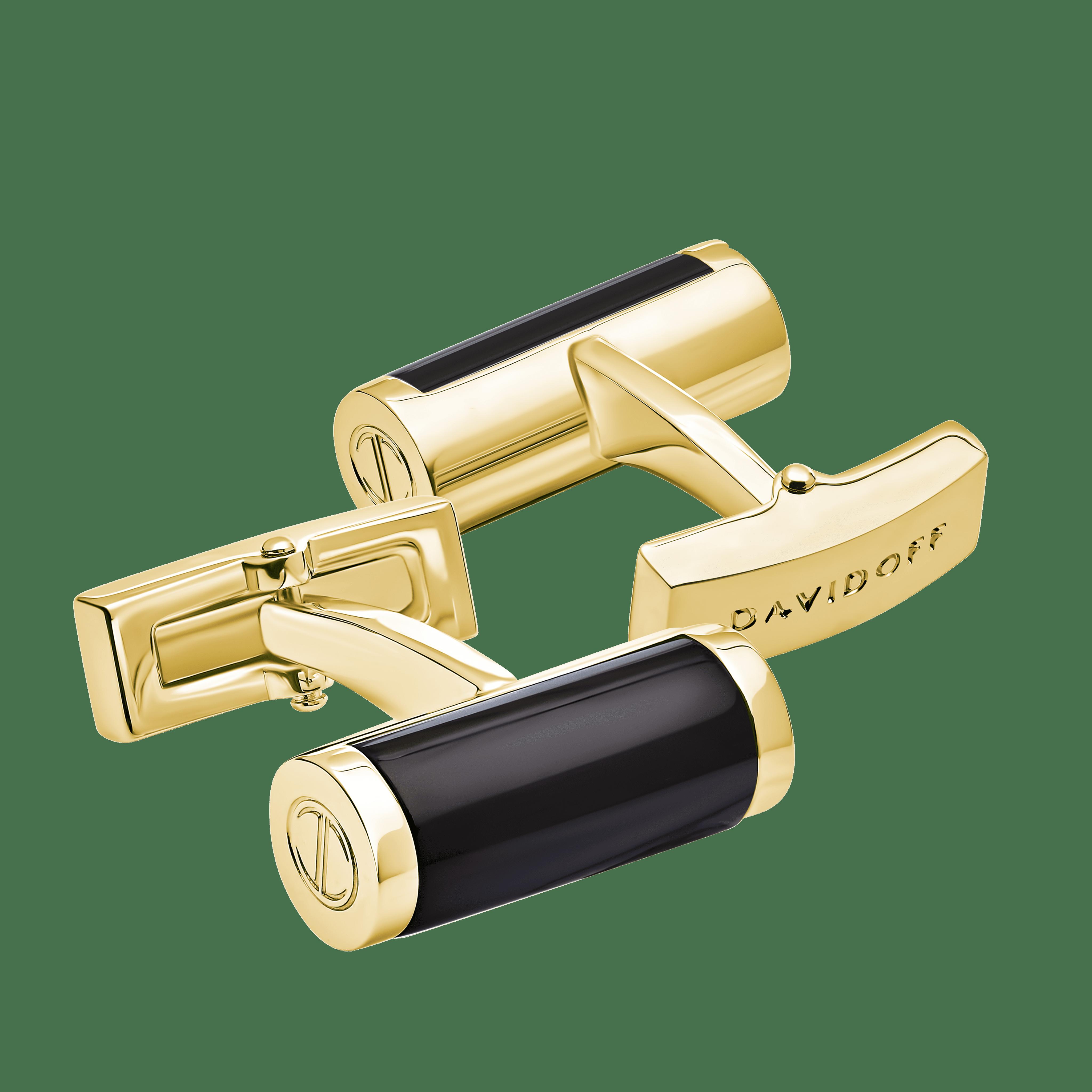 ESSENTIALS Cufflinks Barrel - Light Gold / Black