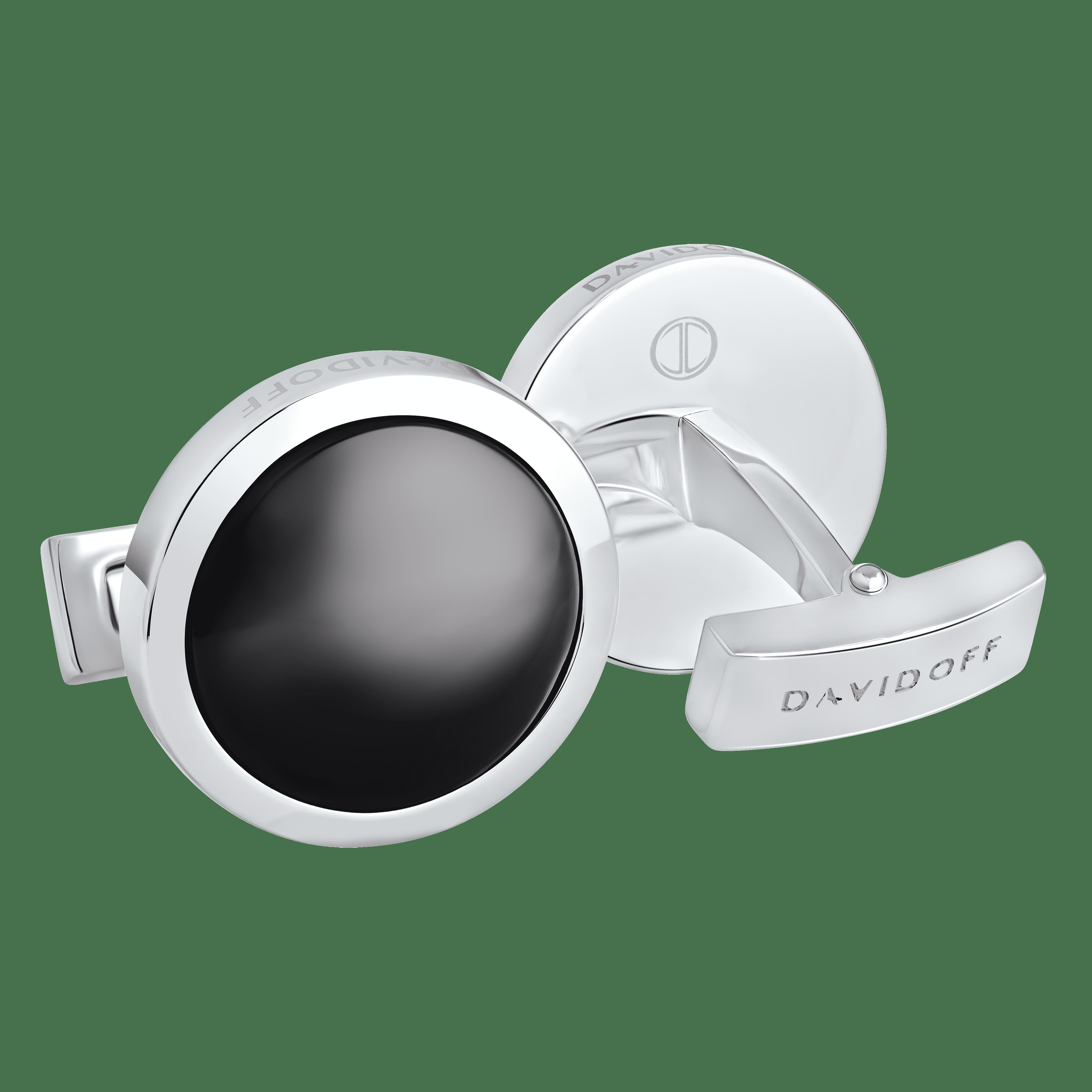 ESSENTIALS Cufflinks Round - Rhodium / Black