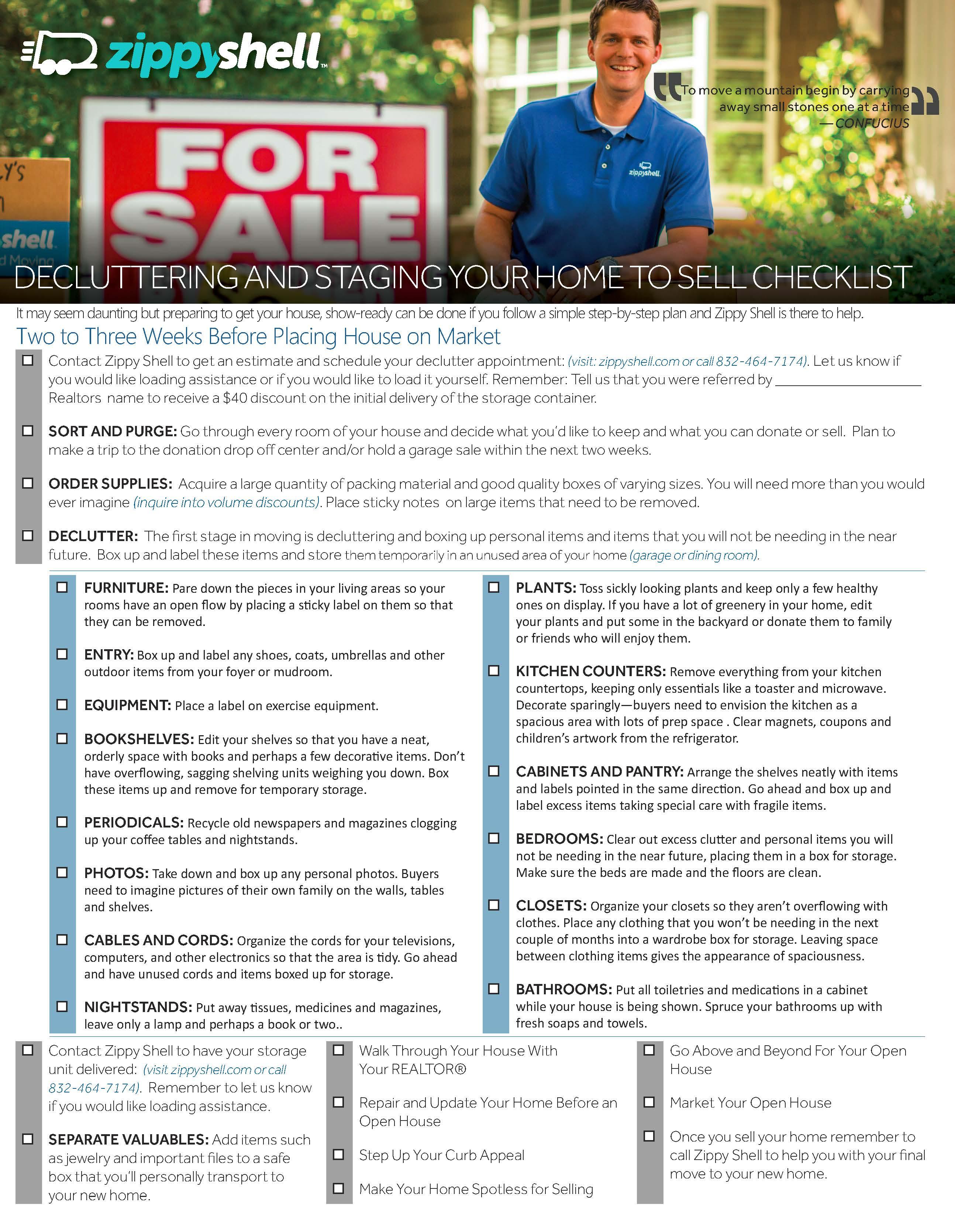 Zippy Shell Houston - Declutter Checklist