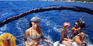 Girl sailing in Croatia