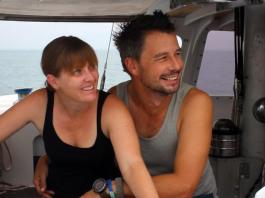 couple on a sailing yacht