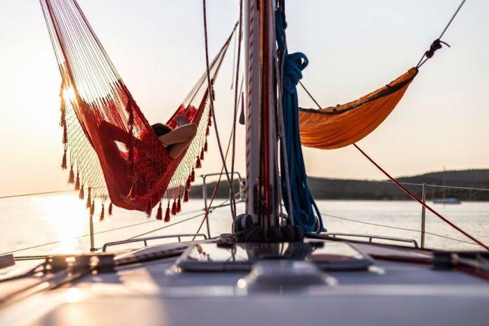 enjoying sunset on a boat