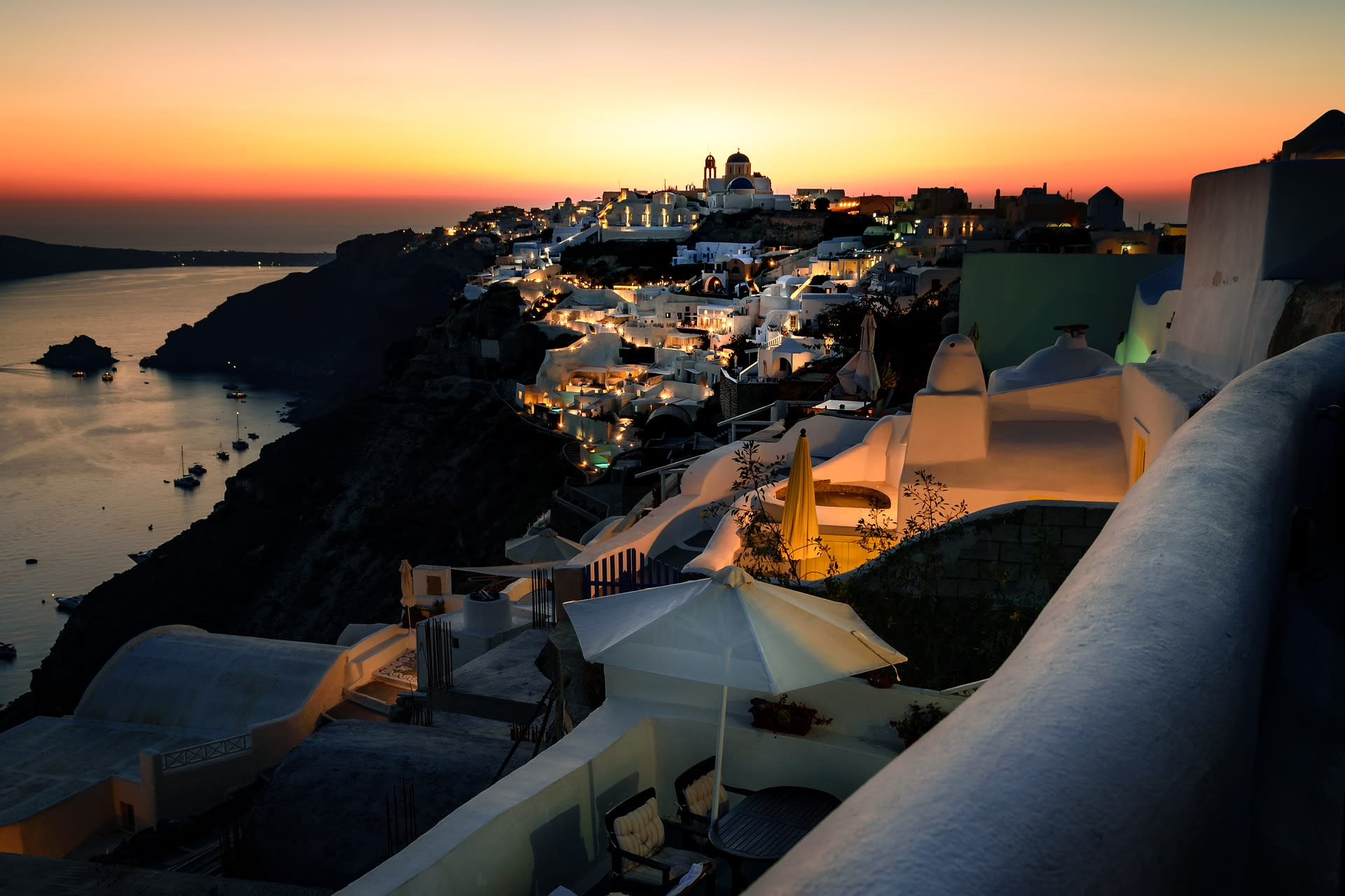 Best Party Islands World Santorini Greece Rooftop Sunset
